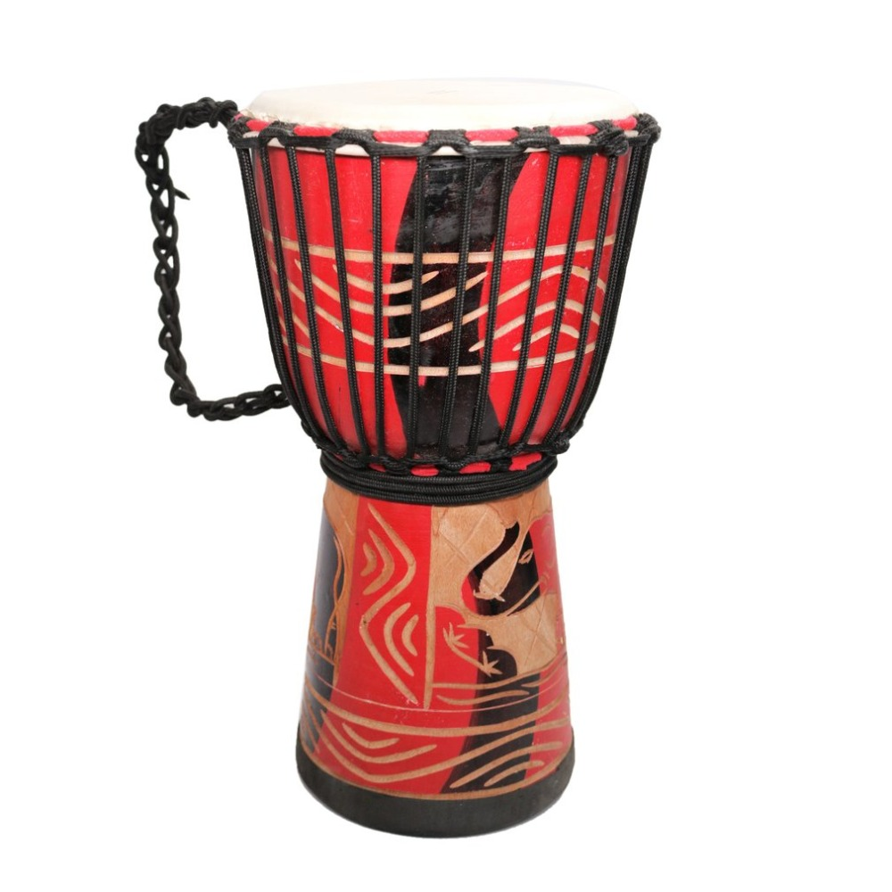 Orff World 10 inch Djembe Goat Skin Wooden African Drum Percussion Musical Instrument For Children Practice Rhythm Beginners
