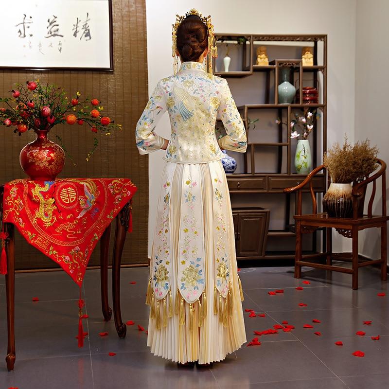 Bruid trouwjurk Traditionele china stijl kostuum Phoenix cheongsam Borduurwerk kleding Luxe oude Royal Party Qipao gown - 5