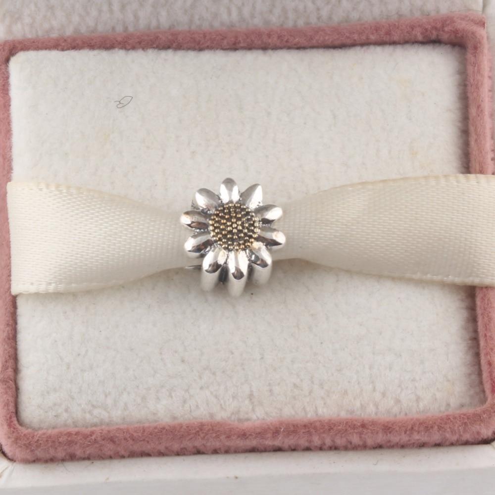 ZMZY Vintage 925 Sterling Silver Charms Sunflower Beads Fits Pandora Charm Bracelet DIY Making Women Jewelry