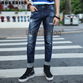 Nuevos pantalones vaqueros de diseño de los hombres 2016 pantalones vaqueros de marca famosa jeans ajustados de los hombres bajo precio de fábrica pantalones de color azul oscuro de la cremallera del motorista pantalones dsq c045