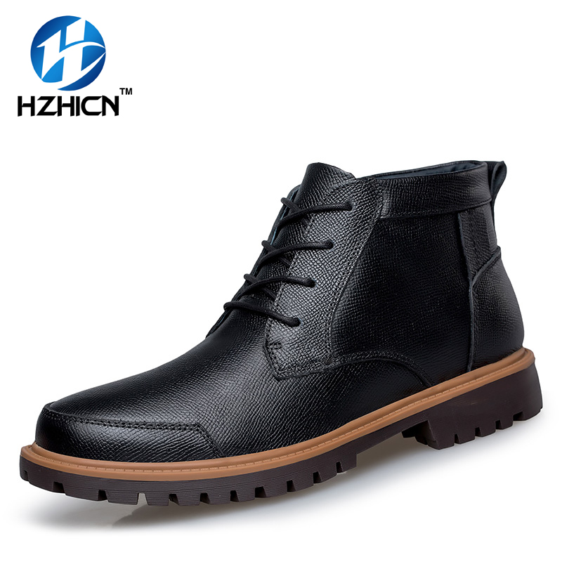 2016 Winter Men Snow Boots With Fur Warm Rubber Boots Men Outdoor Shoes Genuine Leather Men Work Boots Footwear Man Ankle Boots men boots 2015 men s winter warm snow boots genuine leather boots with plus velvet shoes high quality men outdoor work shoes