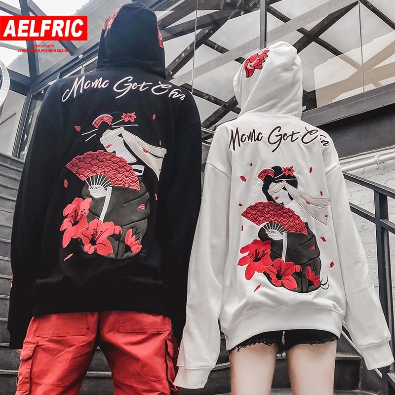 AELFRIC Hoodies Men Japanese Streetwear Fashion Casual Sweatshirts 3d Flower Print Harajuku Pullovers Hoodie Casual Outwear QA07 hoodie