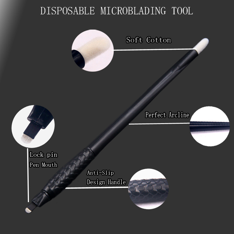 50pcs Microblading Manual Disposable Pen With Needles Eyebrow Tattoo Permanent Makeup 18 U Shape Needles Blades
