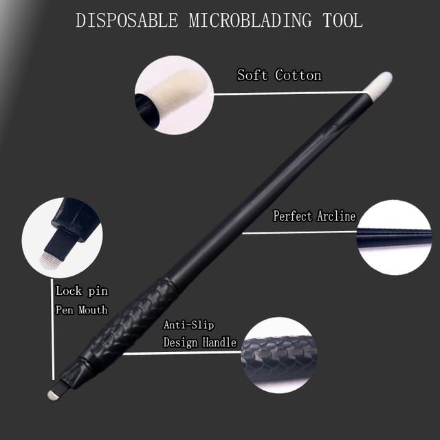 50pcs Microblading Manual Disposable Pen With Needles Eyebrow Tattoo Permanent Makeup 18 U Shape Needles Blades