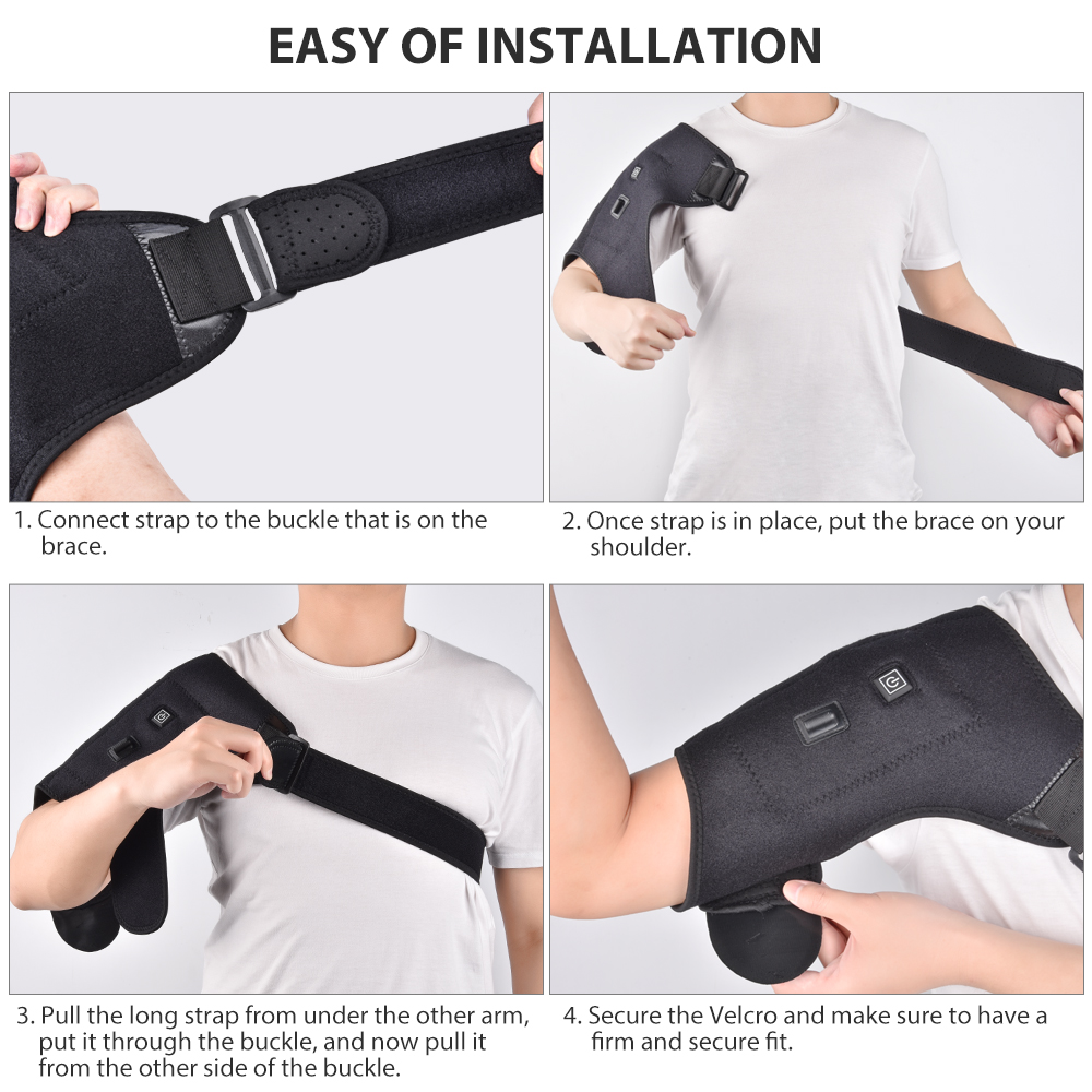 Heat Therapy Shoulder Brace Adjustable Shoulder Heating Pad for Frozen Shoulder Bursitis Tendinitis Strain Hot Cold Support Wrap