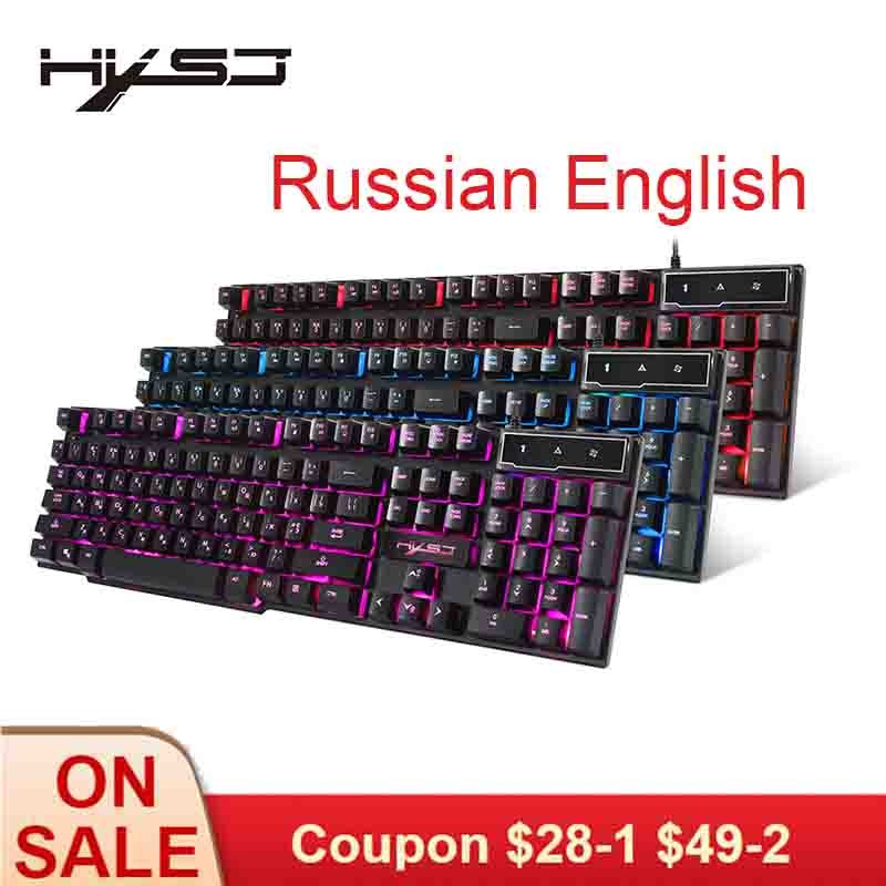 US $15 38 30% OFF|HXSJ Gaming Keyboard Russian English Keyboard 3 Color LED  Backlight 104 Keys Wired Keyboard Gamer's Equipment For Gamer-in Keyboards