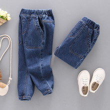 DIIMUU Hot Fashion Toddler Boys Girls Denim Pants Harem Cargo Jeans Solids Casual Washed Mid Waist 1pc Loose Long Trousers