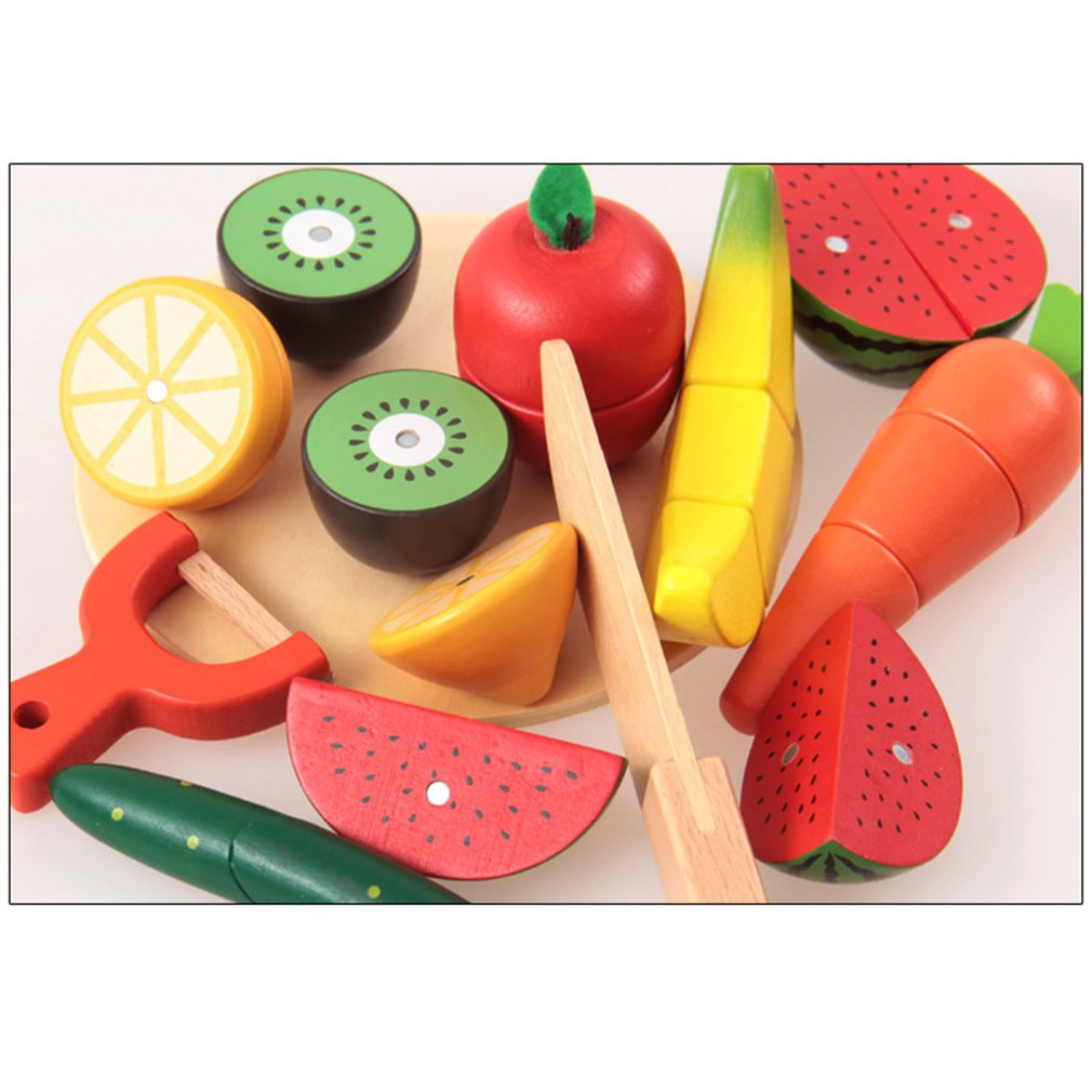 Wooden Simulation Kitchen Toy Cutting Fruit Vegetable Toys Children Early Education Puzzle Gifts Kitchen Toys