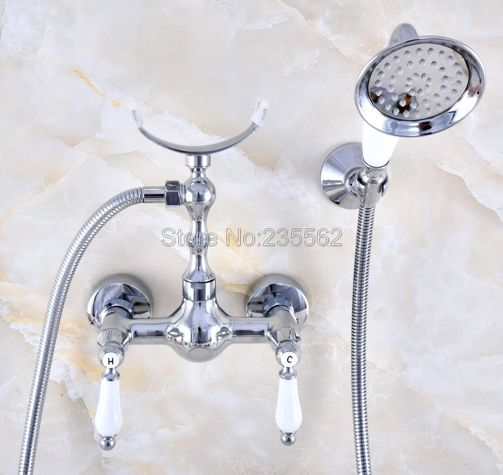 Chrome Brass Bathroom Faucet Bath Faucet Mixer Tap Wall Mounted Hand Held Shower Head Kit Shower Faucet Sets lna735