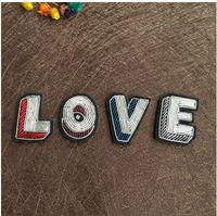 Letter LOVE Emboridered Patch Brooch Indian Silk Wire Handmade Embroidered Badge Fabric Patch Fashion Clothing DIY Craft Supply