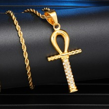 цена на Key of Life Iced Out Bling Cross Rhinestone Ankh Pendants & Necklaces For Men HIP Hop Jewelry Pendant Chain Necklace
