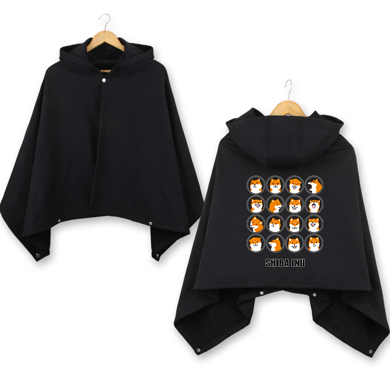 SHIBA INU Dog winter thicken Cloak 70*150cm cosplay Cape Coat men women warm hooded mantle anime Cosplay Costume