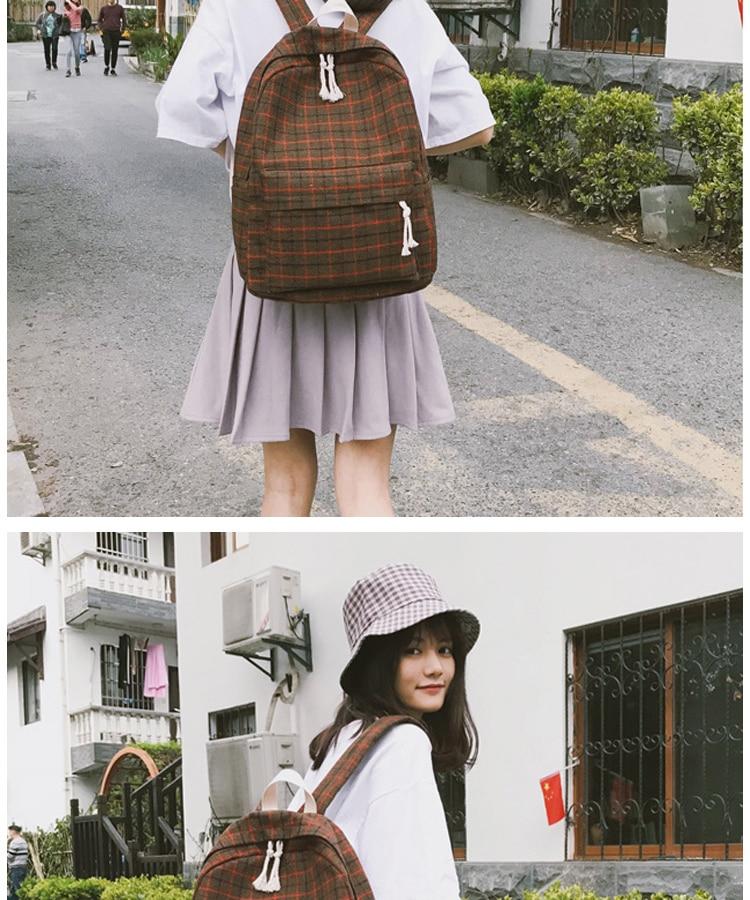 HTB1egT4PgHqK1RjSZFEq6AGMXXaH 2 Pieces Japan style Plaid Style Women Backpack Pencil Case Student Girl School Bag Travel Shoulder Bag For Women 2019 Bagpack