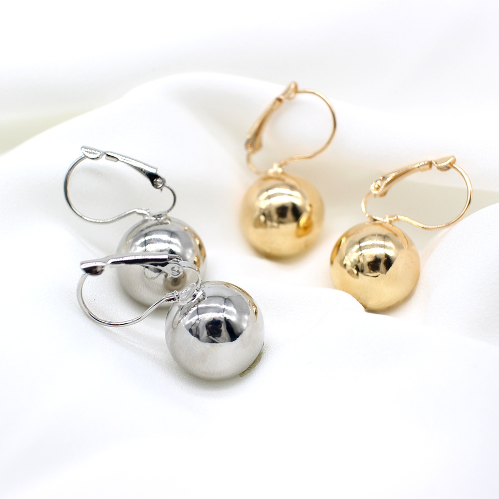 2019 New Fashion Gold color Ball Earrings Simple Metal Round Ball Stud Earrings For Woman Party Wedding Jewelry Femme Brincos 5