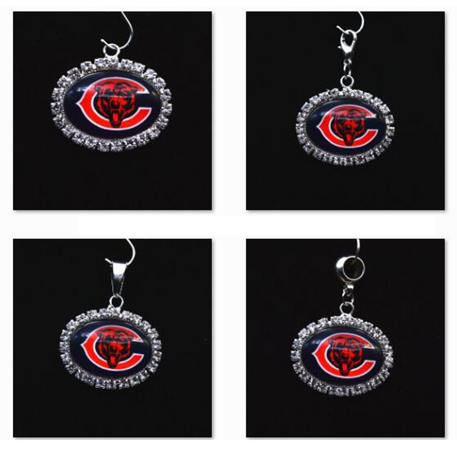 Silver Pendant Charms Rhinestone Chicago Bears Charms for Bracelet Necklace for Women Men Football Fans Paty Fashion 2018 ...