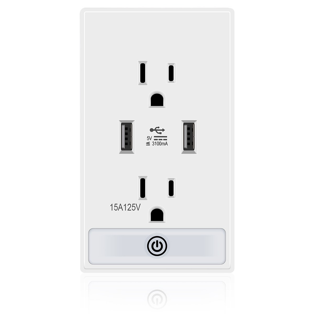 Wall Mount USB Socket Plugs AC 15A Wall Socket Wall Charge Power Dual USB Charging Ports with Touch Control LED Nightlight 800 wires soft silver occ alloy teflo aft earphone cable for westone es3x es5 um2 um3xrc um3x w4r straight ln005412