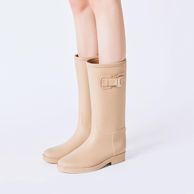 Femmes Rainboots Femme Bottes Rouroliu Chaussures De Boucle Talon D'eau Mi Black Wellies Rt294 Antidérapantes mollet gray Imperméables tea Pluie Carré AwRB7q1