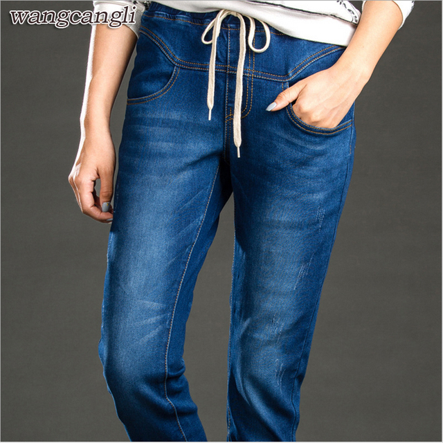 Winter Velvet Stretching Warm Jeans Women With High Waist blue denim Winter Women plus Size 5xl Harem Pants Loose Stretch Trouse