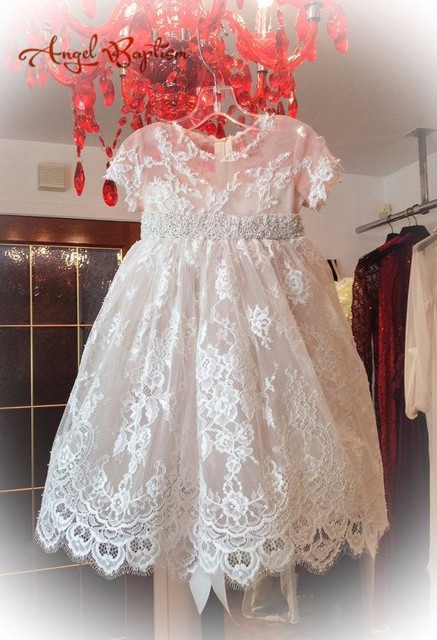 Beaded French Alencon Lace Baby Girl White Ivory First Communion Dresses  Christening Gown Baptism Dress 699fc5cb3c06
