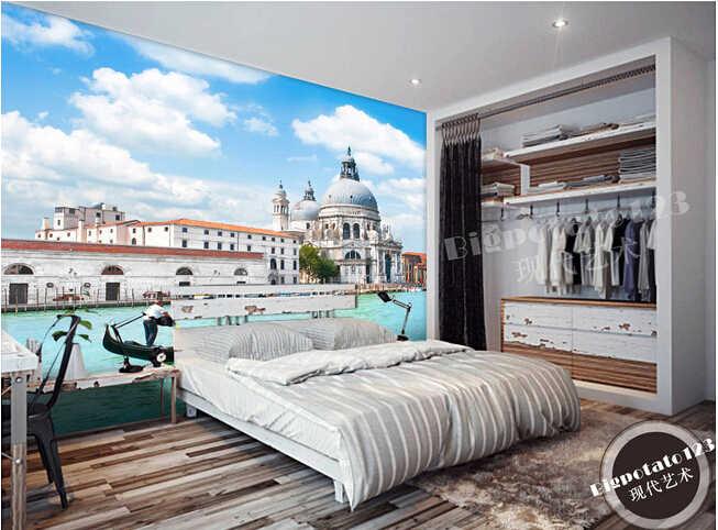 ที่กำหนดเอง3Dภาพจิตรกรรมฝาผนังขนาดใหญ่, เวนิสการถ่ายภาพภูมิทัศน์สถาปัตยกรรมde paredeกระดาษ, ห้องนั่งเล่นโซฟาทีวีกระดาษผนังห้องนอน