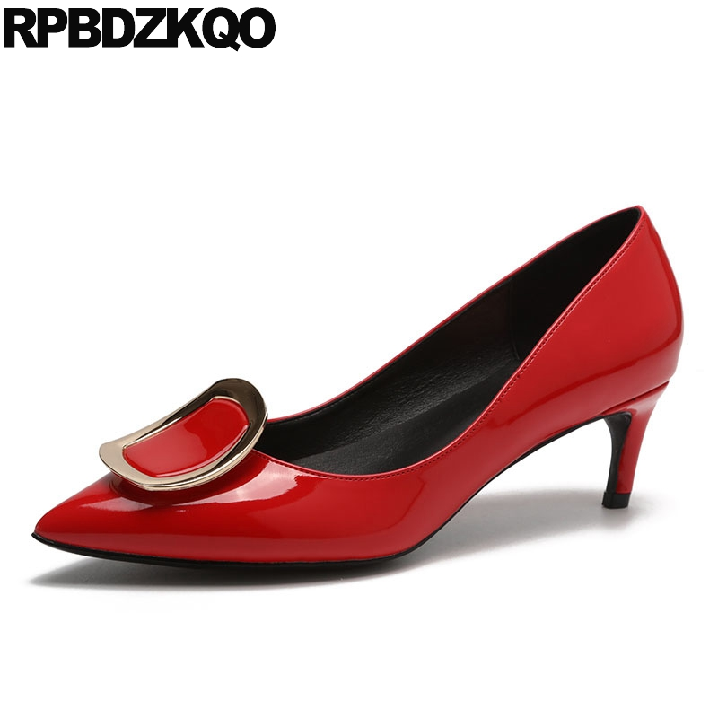 Leather Pumps Low Heels Brand Size 4 34 Nude Italian 2018 Patent Shoes Pointed Toe Metal Celebrity Kitten Medium Women Red Court patent leather 2017 pumps size 33 pointed toe office work formal plus red low 4 34 dress shoes heels yellow high women court