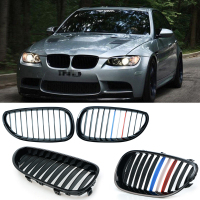 2pcs Grille For BMW 5 Series E60 E61 2003 2009 Gloss Black Car Front Center Wide Kidney Grill Racing Grill Car styling