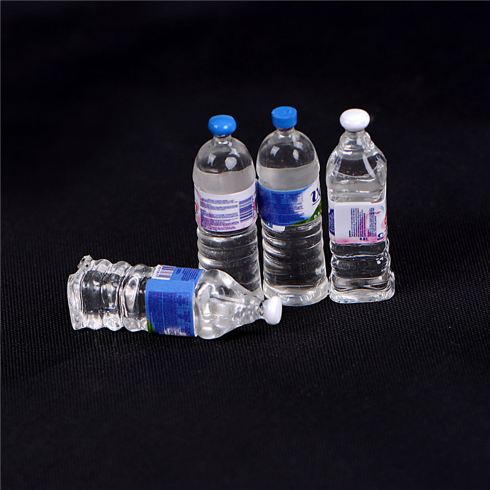 4pcs/lot 1:6 Scale Mini Mineral Water Bottles Dollhouse Miniature Toy Doll Food Kitchen Living Room Pretend Play Toys