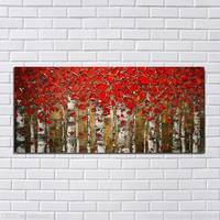 Handmade oil paintings abstract painting knife red leaves on the canvas of the sitting room is free shipping