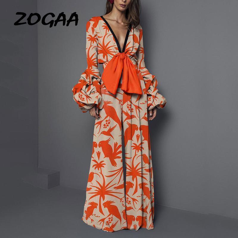 ZOGAA Casual Elegant Rompers Womens Jumpsuit Long Pants Elegant Overalls Summer Boho Pants Bodycon Jumpsuit Wide Leg Combinaison