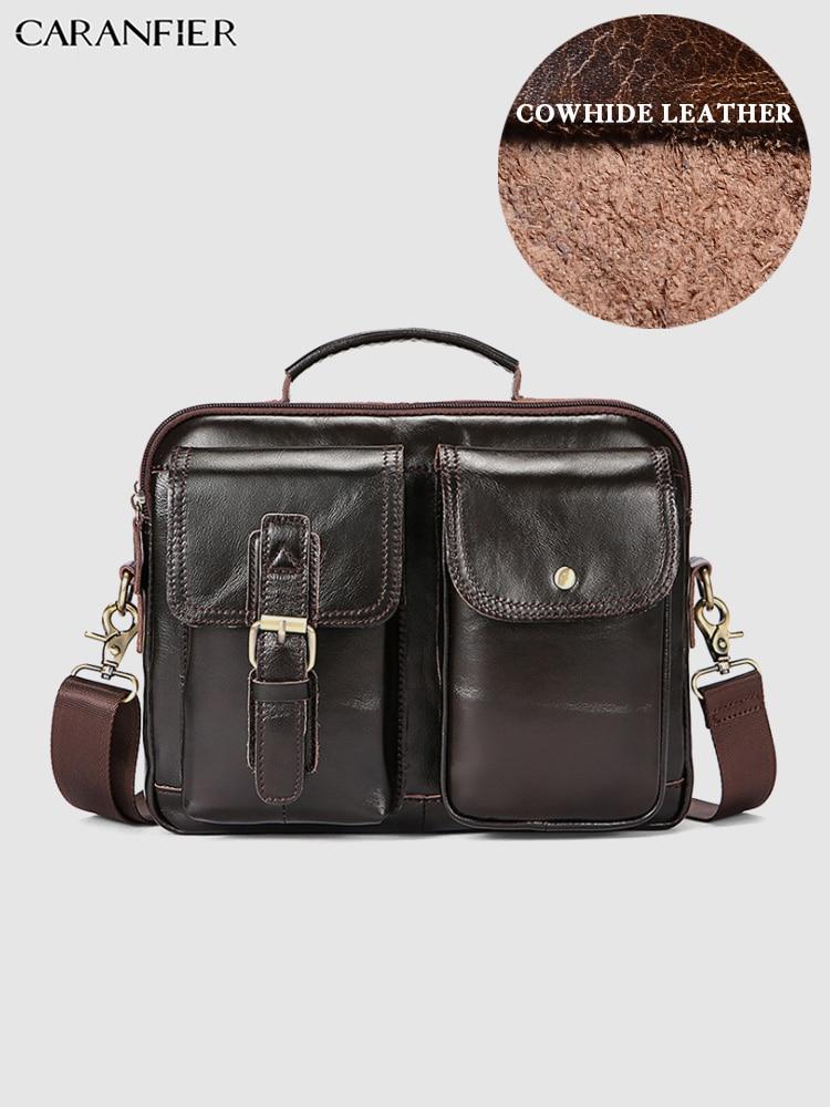 CARANFIER Mens Briefcases Travel Laptop Computer Bags Genuine Cowhide Leather Vintage Shoulder Messenger Bags Business Handabags