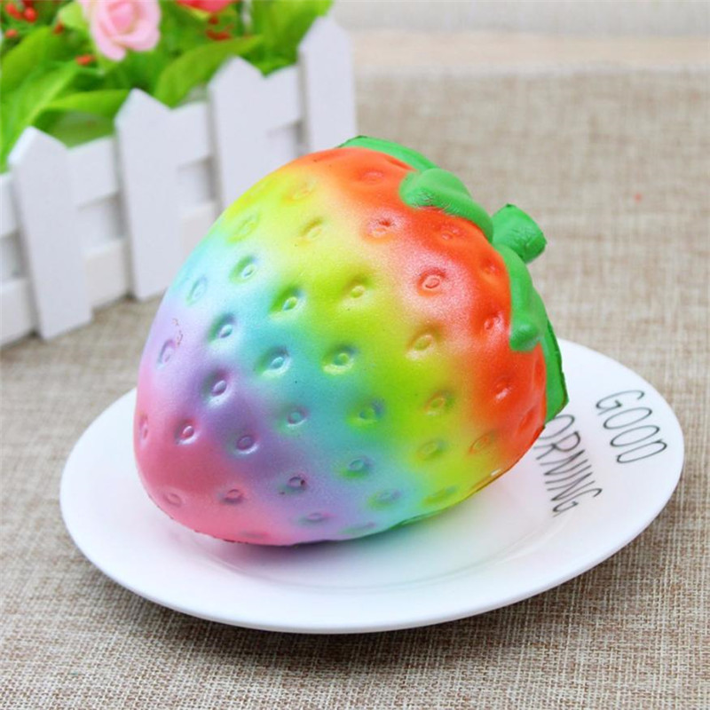 Besegad Cute Kawaii Soft Jumbo Big Rainbow Strawberry Squishy Squishi Slow Rising Toy for Children Relieves Stress Anxiety,Xm35