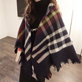 Leather Button Cape Scarf Plaid Big Infinity Cotton Blanket Scarf Tassel Ponchos and Capes Wraps Tippet Scarf Winter Shawls