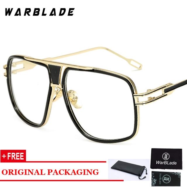6393a57c0d Marca diseñador Big Square gafas marcos para hombres metal claro Lujo  Grandes lentes del marco enmarcan