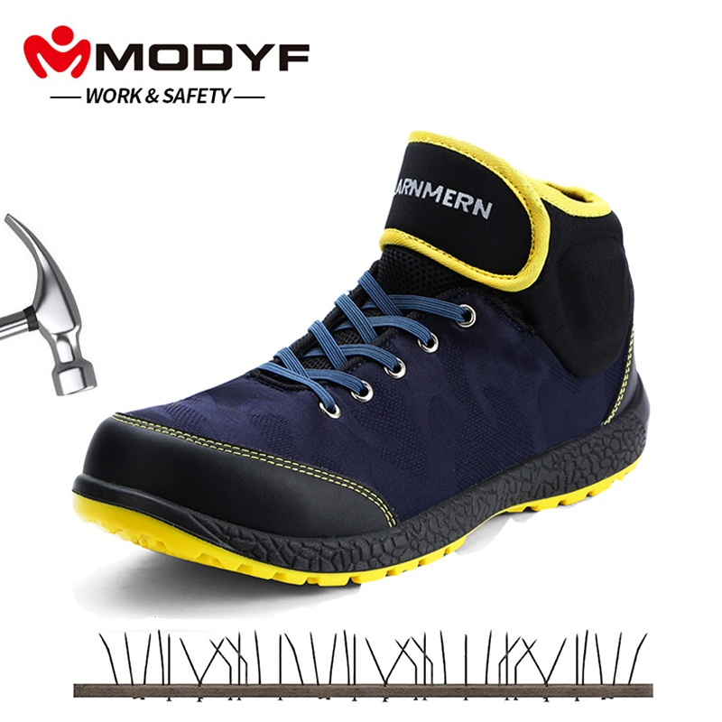 MODYF Men s Steel Toe work Safety Shoes Lightweight Anti smashing Anti puncture Non slip Construction