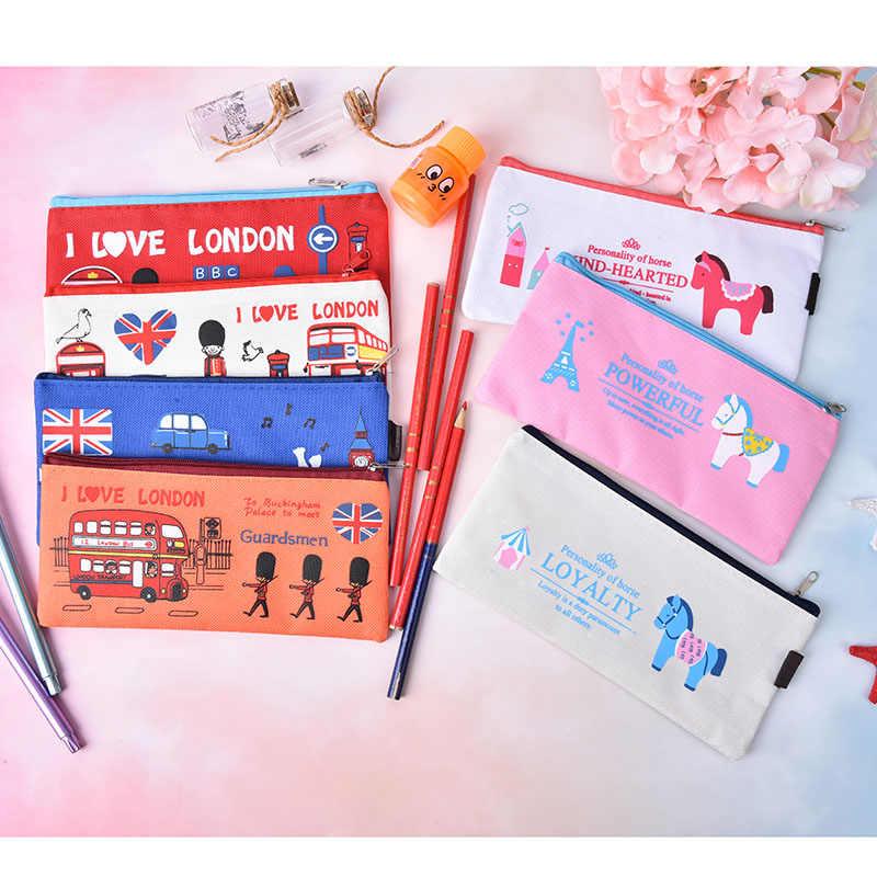 Kreatif Inggris Desain Penyimpanan Alat Tulis Sekolah Pemasok Pelajar Hadiah I Love London Gaya Tentara Oxford Pensil Case