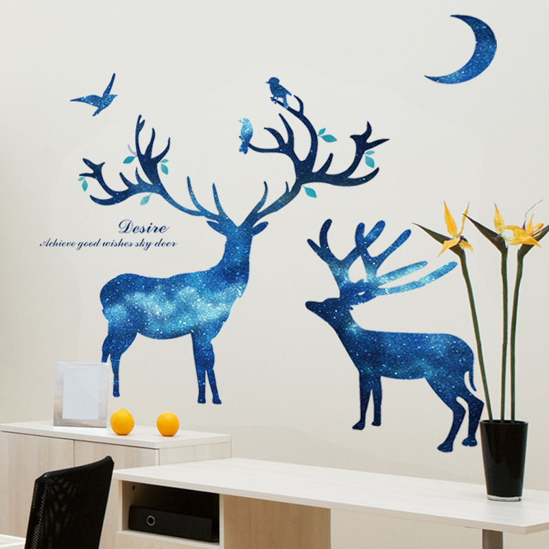 [SHIJUEHEZI] Star Moon Deer Wall Sticker Quotes Creative Animal Wall Decals  DIY For Sitting Room Sofa Background Decoration In Wall Stickers From Home  ...