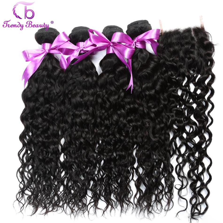Trendy Beauty Brazilian water wave 4 bundles with 4*4 inches lace closure human hair weaves color #1b can be dye 5 pcs in total