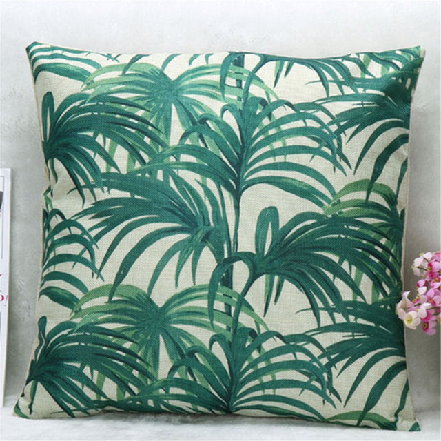 45cmx45cm Tropical Plants Green Palm Tree Leaves Back Cushion Cover For Sofa  Bed Decorative Pillow Case