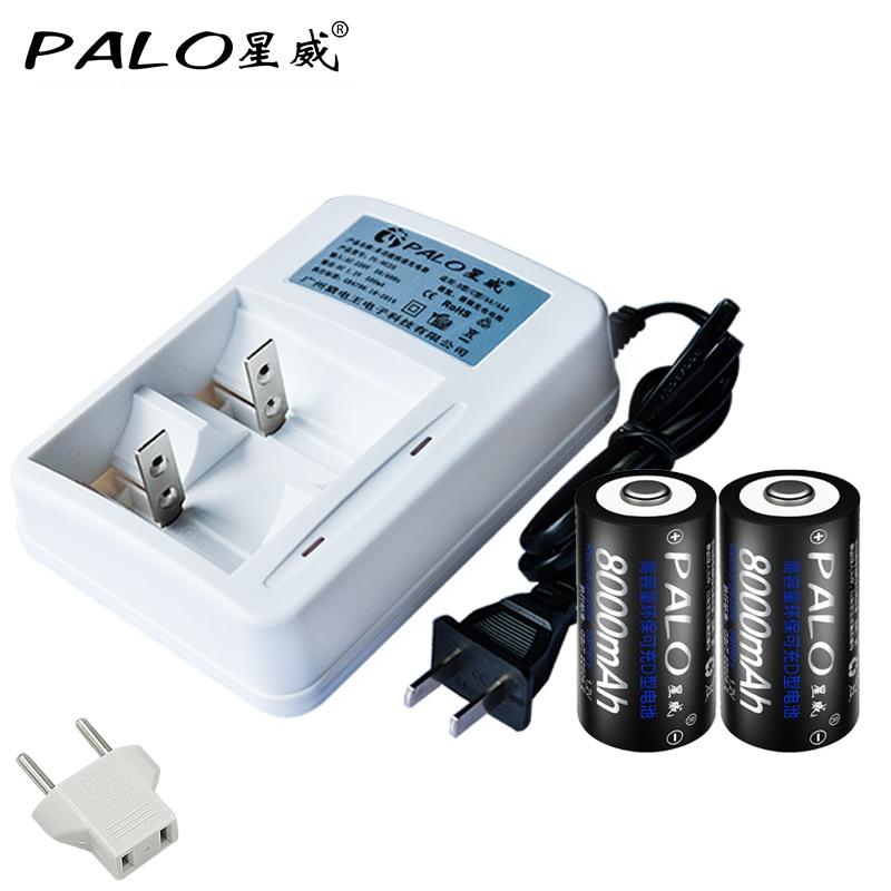 Palo 2 Lots Muti-Function Smart LED Charger For AA AAA <font><b>C</b></font> D <font><b>Size</b></font> <font><b>Battery</b></font> And 2Pcs 8000mag Rechargeable Batteris pilas <font><b>recargables</b></font>