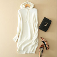 2018 New 100% Pure Cashmere White Dress Women Long Sleeves Autumn Winter Thick Hooded Sweater Dress Long