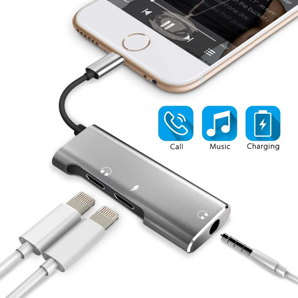 3 in 1 Dual for <font><b>Lightning</b></font> with <font><b>3.5</b></font> <font><b>mm</b></font> <font><b>Headphone</b></font> <font><b>Jack</b></font> Audio <font><b>Adapter</b></font> Splitter Support Audio Charge Music Control Phone Call image