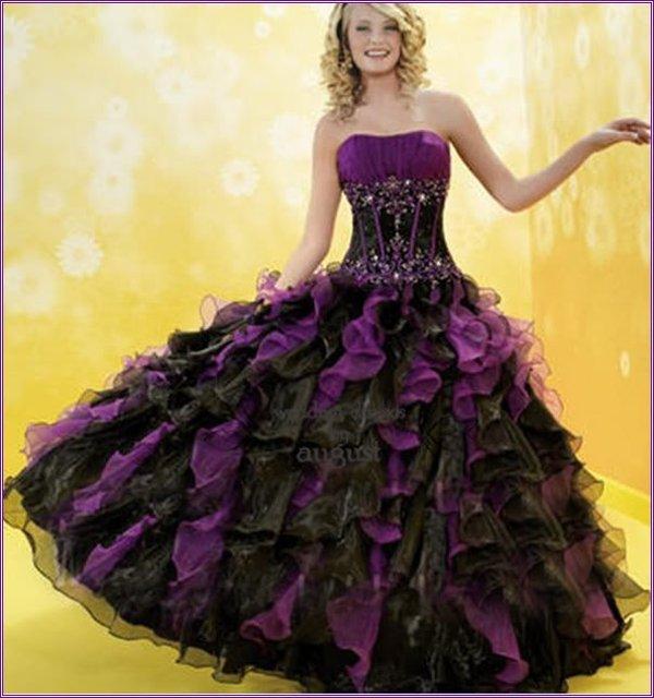 Strapless Purple /Black Organza Applique Ball Gown Bridal ...