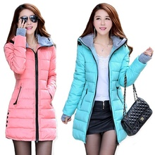 ZOGAA new women's long section thick fashion warm slim hooded down jacket jacket thick coat cotton casual jacket 11 colors S-4XL цена