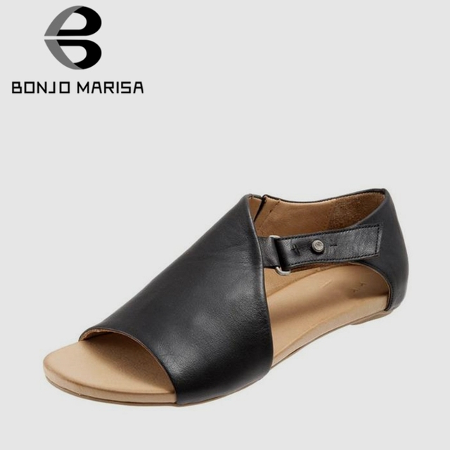 315793b230c US $15.88 41% OFF|BONJOMARISA Women Casual Black Fake Leather Sandals 2019  Summer large size 34 43 Lady Concise Summer Beach Shoes Woman Low Heels-in  ...