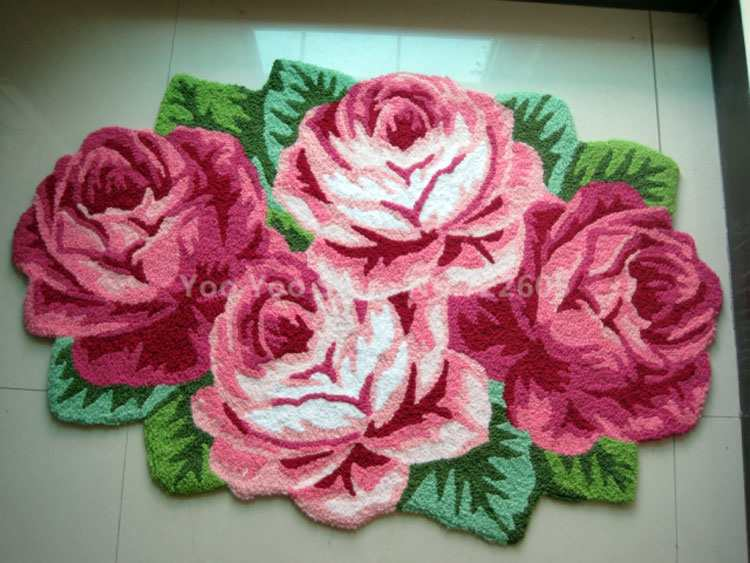 Aliexpress.com : Buy Free Shipping Flower Shaped Rug / Flower Carpet 4 Rose  Rug Soft Carpet Door/floor Mat Tapis Alfombras, Machine Washable Rugs From  ...