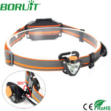 BORUiT 500lm XPE LED Mini Headlamp Flashlight 4 Modes Portable Camping Hunting Headlight Waterproof Fishing Head Torch Lamp