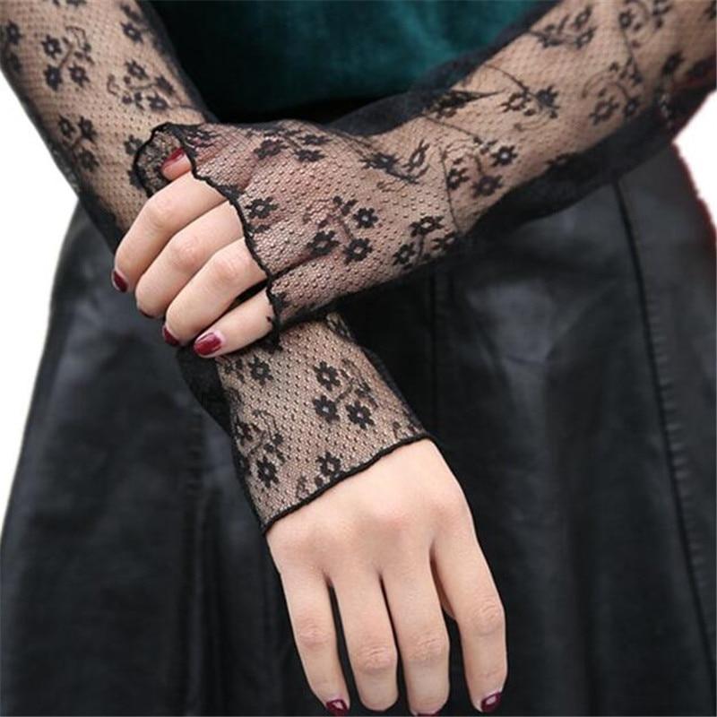 Women Summer Long Fingerless Sunscreen Gloves 2017 Ladies Anti-UV Driving Gloves Sun Block Lace Floral Fishnet Sheer Arm Sleeves