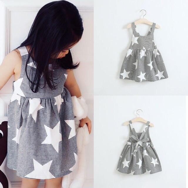 5cfcb96bd44 Модное летнее платье летнее пляжное платье для маленьких девочек  праздничное платье со звездами и полосками