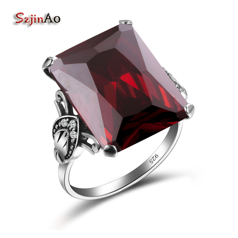 Szjinao Real 100% 925 Sterling Silver Cool Ring Vintage Square Garnet Autrichien Edward Antique Jewelry Grosses Bagues