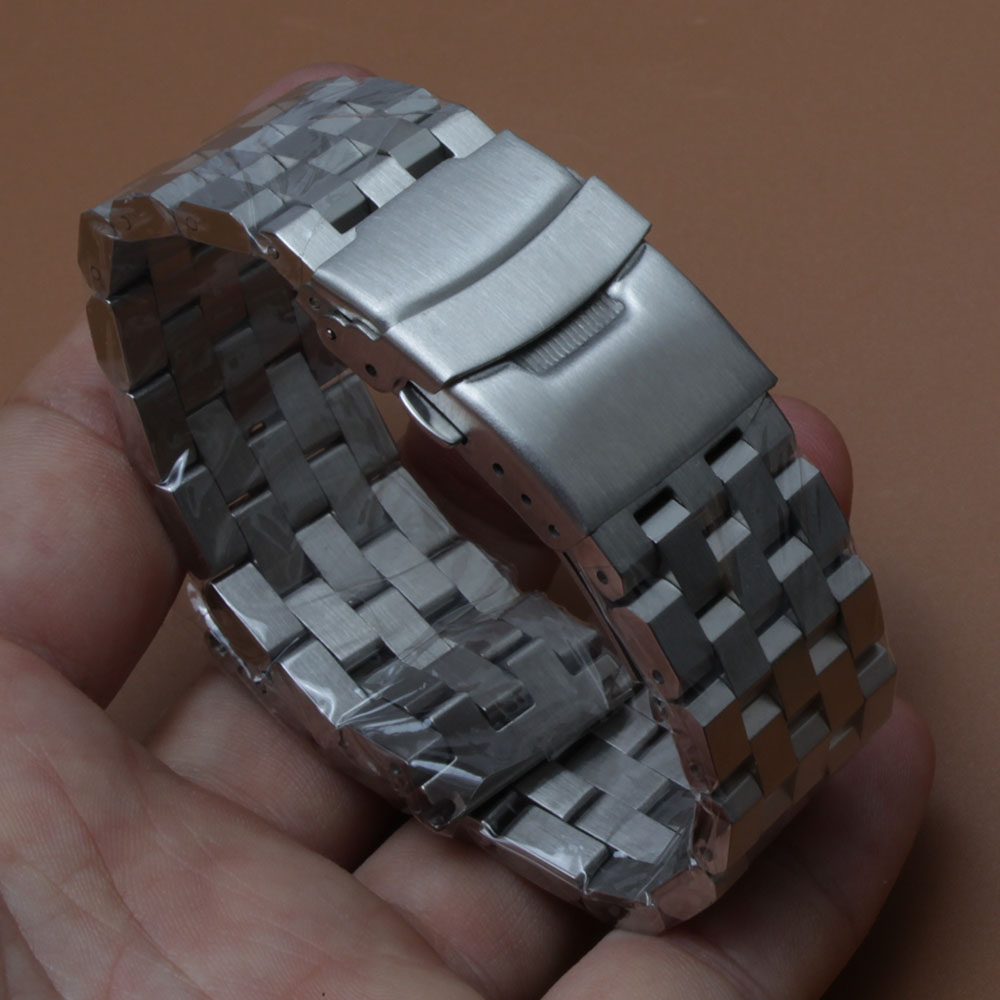 Matte Watchband strap Unpolished Watch straps bracelet 18mm 20mm 22mm 24mm 26mm silver stainless steel accessories safety buckle цена и фото